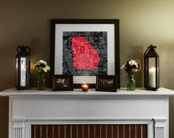 State of Georgia Photo Mosaic Collage - 20x20 Inch Print