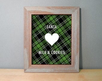 Rustic Red or Green Plaid Holiday Wall Decor for Him / Christmas Wall Art Print - Santa Loves Me (or customize with your own wording)