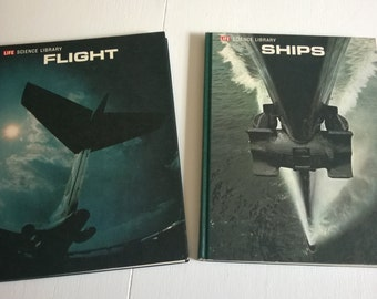 FINAL SALE CLEARANCE Boats & Planes Vintage Books Life Science Library Kids Library Transport Engineering Mechanics --- Airplanes and Ships