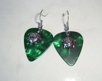 Green Turtle Guitar Pick Earrings, Tortoise Finish Fender Picks Handmade