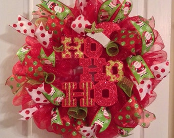 Christmas Wreath/ Christmas Deco Mesh Wreath/ Santa Deco Mesh Wreath/ Ho Ho Ho Wreath