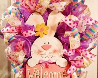 Easter Wreath/  Easter Bunny Deco Mesh Wreath/ Spring Mesh Wreath/ SALE/Bunny Mesh Wreath/ Easter Egg Wreath
