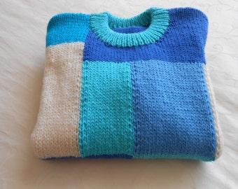 Jumper,  Size 6, Cream/Blue tones