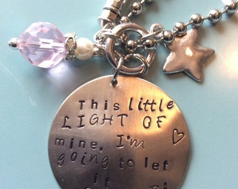 This little light of mine stamped metal necklace