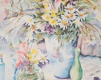 Watercolor Still life of Daisies and Star gazer lily