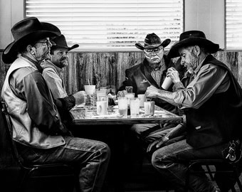 People Photography - Cowboys having breakfast in a Diner in Amarillo, Texas. Cowbow hats, rugged  - 8x10 black and white photograph