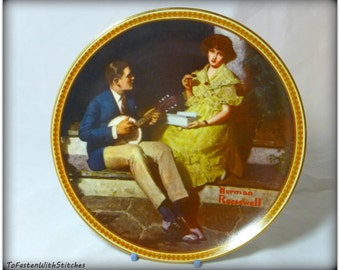 "Norman Rockwell ""Pondering on the Porch""  Collectible Plate,"