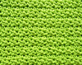Hand Crocheted Cotton Dish Rag Hot Lime Green