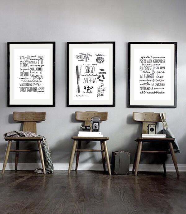 Set of prints italian kitchen poster kitchen by shuffleprints for Italian kitchen set