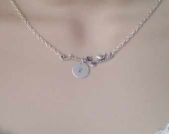 Birds Branch Initial Necklace, Silver Bird Necklace, Personalise Bird Flower Necklace, Bridesmaid Gifst, Gift for Girls, British Seller UK
