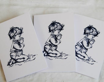Little Boy Praying Note Card Set of Ten, Religious Boy Thank You Cards, All Occasion Prayer Cards for Boy, Hand Made Greeting Card Set