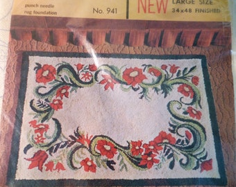 Punch Needle Rug Pattern Red Flowers Rug Pattern LARGE 34x48 Aunt Lydias