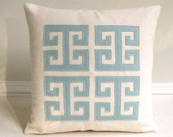 Greek Key Pillow with Aqua, Sea Foam Felt Applique on Natural Off-white Canvas, Simple Modern Decorative Pillow