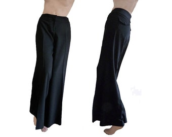 Cache High waist Pants Wide leg Womens black Sz 4 Vintage 80s 90s Flat front  Dress or Casual