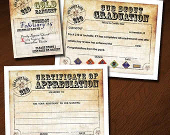 Cub scout awards etsy custom cub scout blue gold or graduation invitation certificate of appreciation yadclub Images