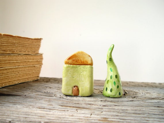 Lime green clay house, display miniature house, home decor, rustic cottage decoration, housewarming gift