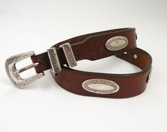 Brown Leather Western Vintage Skinny Belt with Silver Conchos and Buckle Sz 30