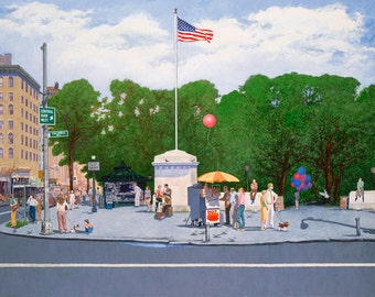 Giclee Archival Print - Columbus Circle & Central Park West, by Ernie Henfeld, 1982