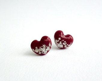 Burgundy red heart studs- Delicate hypoallergic post earrings