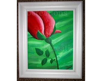 Abstract Rose Painting Flower Fine Art Framed