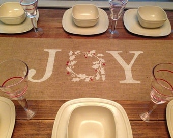 Burlap Table Runner  12', 14', or 15' wide with Joy in the center - Christmas runner Holiday decorating Home decor Christmas decor