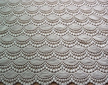 Crocheted Lace Fabric in Ivory.lace fabric by the yard