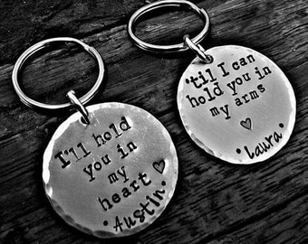 Long Distance Relationship Jewelry Keychain Set Personalized Hand Stamped, His and Her Gifts For Military Deployment Overseas