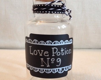 Decorated by me:) Love Potion No 9 glass bottle.