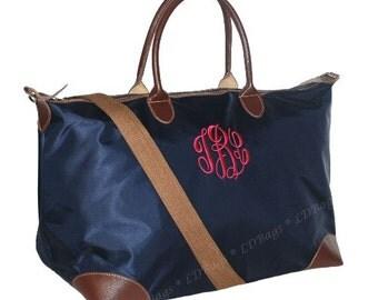Signature Collection Weekender Bag Overnight Bag Monogrammed Tote Bag, Bridesmaid Tote,Nylon Tote Bag, Navy Blue  Bag Single Pocket