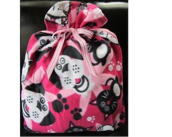 Cats and Dogs Pink Fleece Gift Wrapping