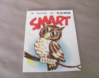 Vintage Owl Greeting Card, 1950's Novo Laugh Owl Greeting Card, Humorous Greeting Card, Funny Card, 1950's Greeting Card