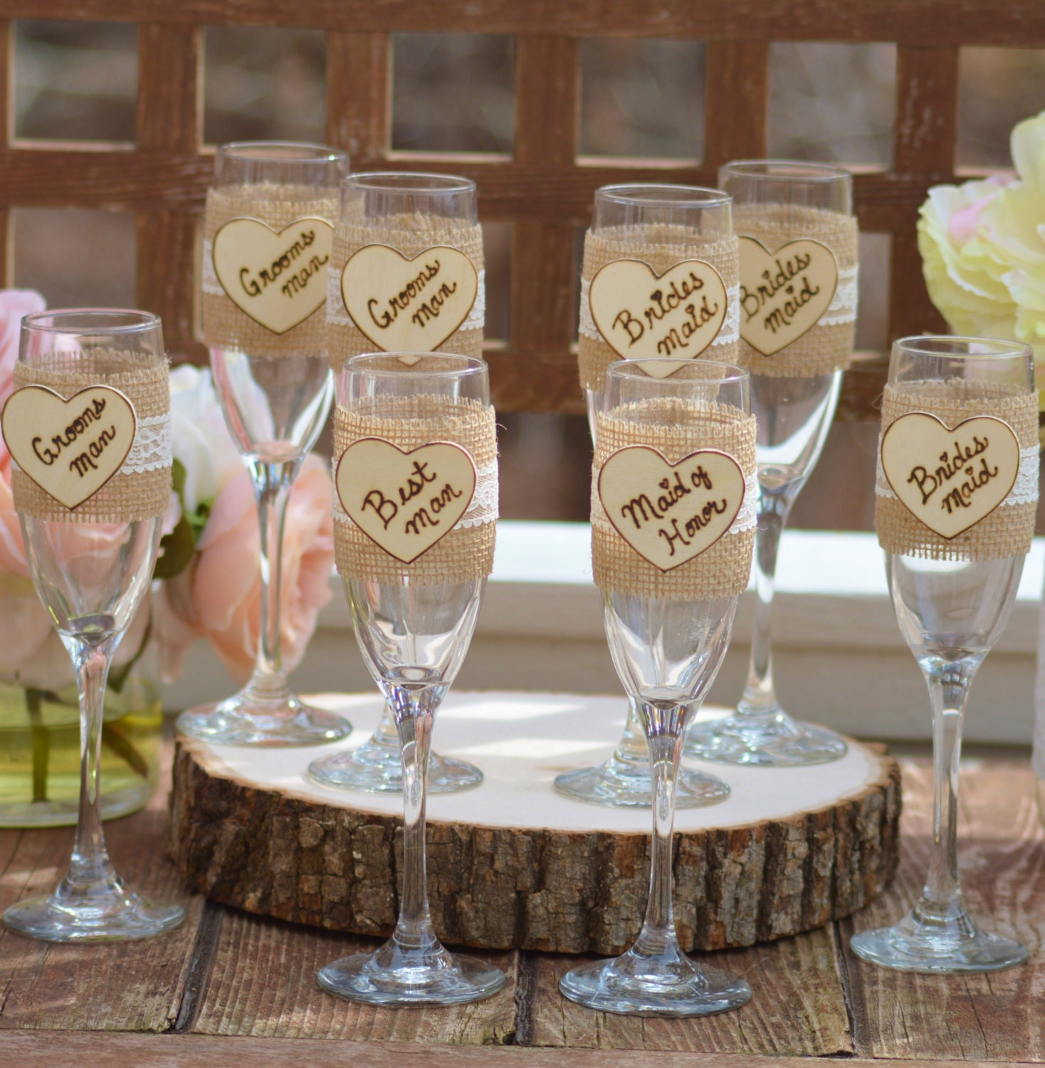 Shabby chic wedding party glasses rustic wedding party gifts for Table de noel shabby chic