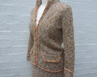 Wool jacket & skirt suit ladies small knit 1960s vintage woodland clothing women's suit cottage chic wedding winter clothes bohemian.