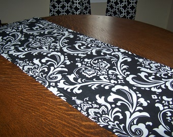BLACK TABLE RUNNER.Table Topper. Premier Prints Fabric. Black Damask.Damask Runner.Reception.Holiday.Table. Wedding.Dinner Party.Table Cloth