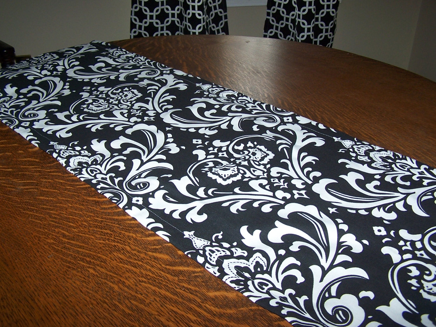 Parfair Dessin Satin Table Runners 12 x inch for Wedding Banquet Halloween Party Decoration, Bright Silk and Smooth Fabric Party Table Runner - Black.