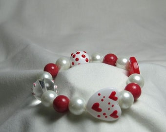 Red and White Hearts Valentines Bracelet