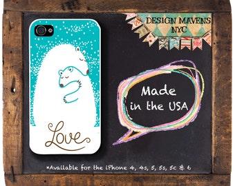 Polar Bear Love iPhone Case, Holiday iPhone Case, Bear iPhone Case, iPhone 4,  4s, iPhone 5, 5s, 5c, iPhone 6, 6s, 6 Plus,  Phone Cover