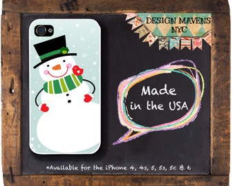 Snowman iPhone Case, Holiday iPhone Case, iPhone 4, iPhone 5, 5s, 5c, iPhone 6, 6s, 6 Plus, SE, iPhone 7, 7 Plus, Phone Case, Phone Cover