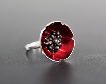 Enamel jewelry,  statement ring, red ring, enamel ring, poppy ring, sterling silver ring for women, unique ring, gift for women
