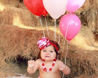 Red, Pink, White Flower Headband, Valentines Hair Accessory, Baby Girl Hairpiece, Valentine Flower Headband, Kids Hair Accessory,