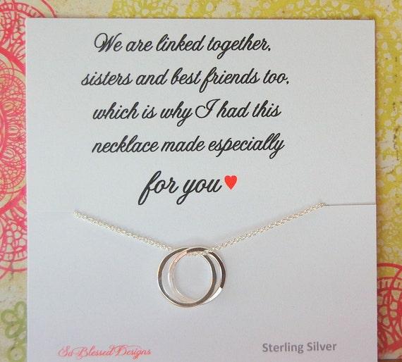Honor wedding gift sister birthday gift linked rings sisters poem
