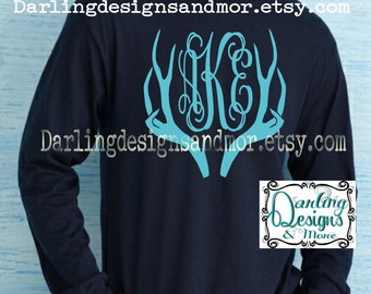 Darling Monogrammed with Antlers Long sleeve tee shirt Glitter available