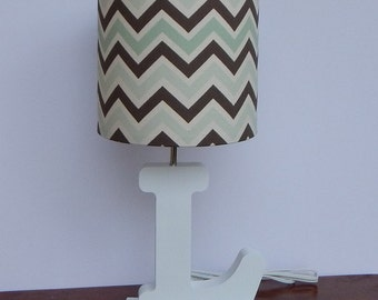 Blue And Brown Lamp Shades: Small Mint/Brown/Natural Chevron Drum Lamp Shade - Nursery Lamp Shade,Lighting