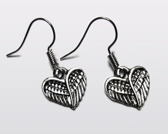 Angel Wing Heart earrings Valentine Kitsch Vintage