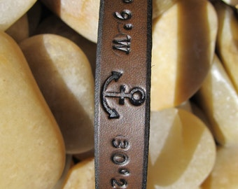 Mens Womens custom coordinates leather Bracelet Cuff - Latitude & Longitude GPS - Anchor - Brown - Mens Womens Kids - Sarah's Artistry