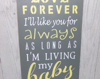 I'll Love You Forever  I'll Like You For Always, Nursery Wall Art, Yellow Gray Nursery Decor, Baby Shower Gift, Gender Neutral Wall Art