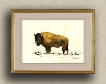 PRINT-American Bison Buffalo forest  portrait - Art Print by Juan Bosco