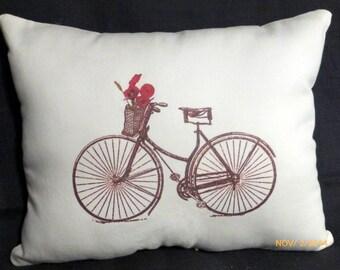 Vintage Bicycle Pillow -  Red Poppies - 10x13 stuffed ready to use - Bike pillow - Paris pillow - decorative pillow  - sofa pillow - pillows