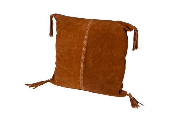 Leather pillow southwestern pillow in genuine by Bohobynature