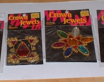 Crown Jewels Appliques sew or glue on crafts very ornate 1990's never used clothing accessories